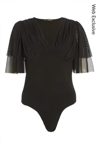 Black Mesh V Neck Bodysuit